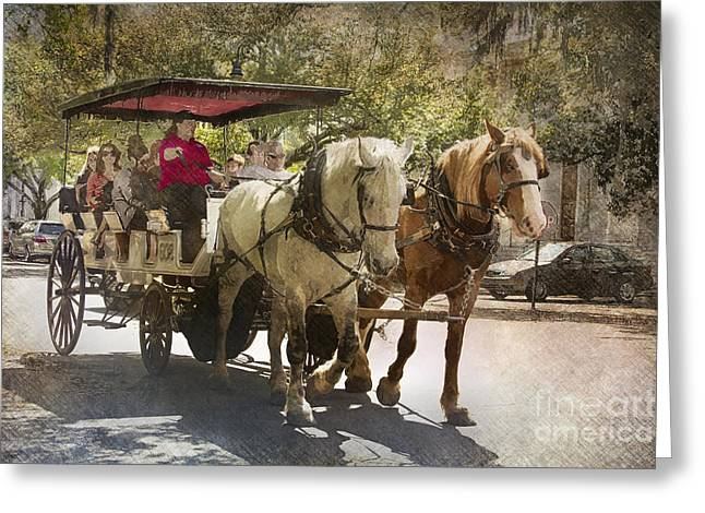 Savannah Carriage Ride Greeting Card by Carrie Cranwill