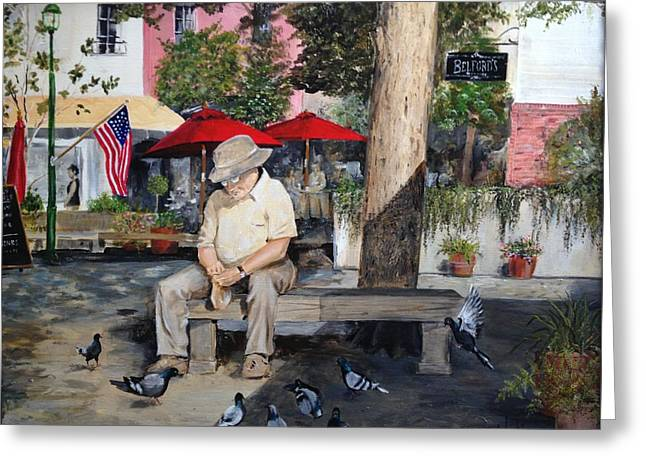 Greeting Card featuring the painting Savannah City Market by Alan Lakin