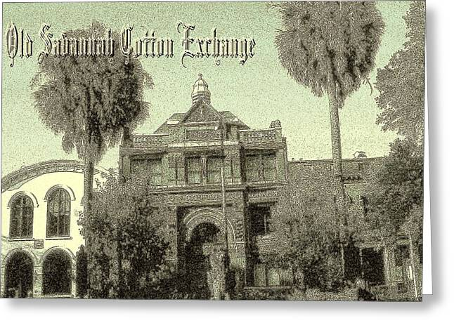 Savannah Cotton Exchange - Old Ink Greeting Card by Art America Gallery Peter Potter