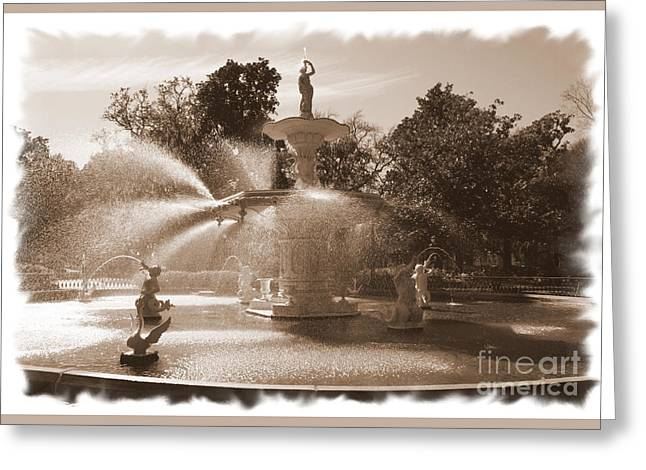 Savannah Fountain In Sepia Greeting Card