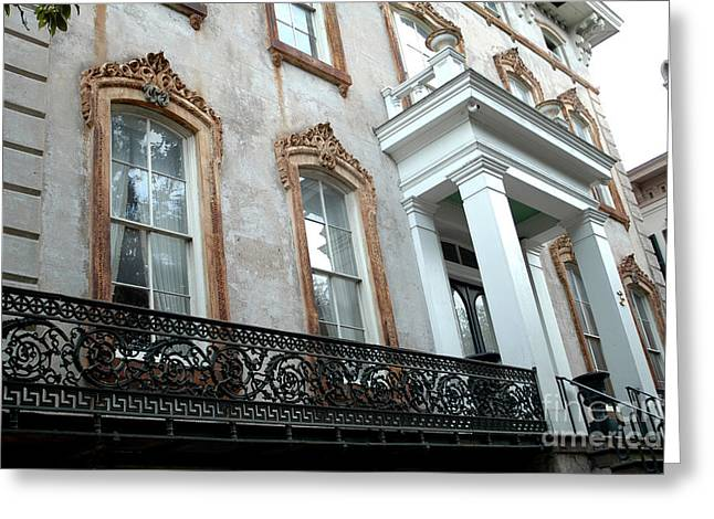 Savannah Georgia Architecture Doors And Windows Greeting Card by Kathy Fornal