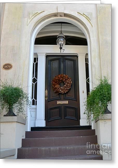 Savannah Georgia Door Architecture - Savannah Victorian Homes Doors  Greeting Card by Kathy Fornal