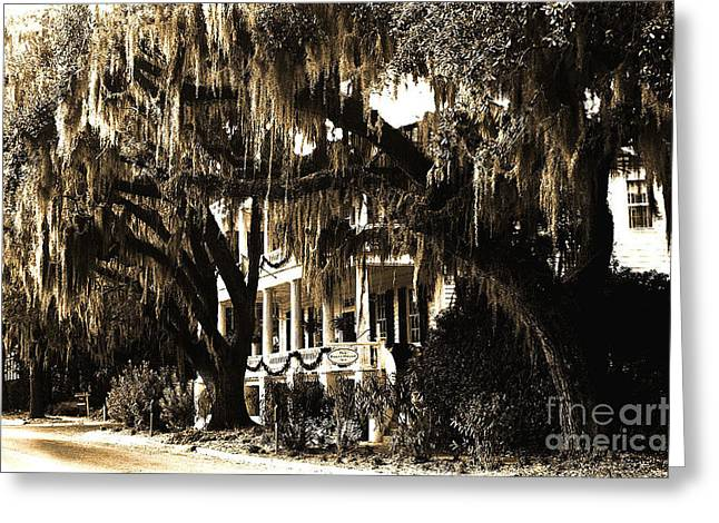 Savannah Georgia Haunting Surreal Southern Mansion With Spanish Moss Greeting Card by Kathy Fornal