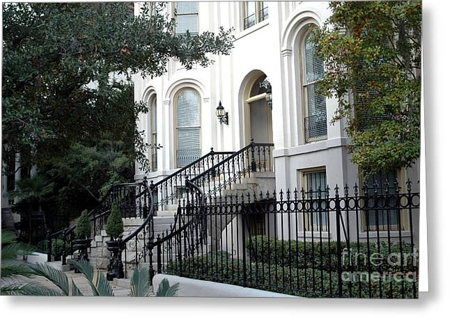 Savannah Georgia Historical District Victorian Homes Architecture - Savannah Mansions Greeting Card by Kathy Fornal