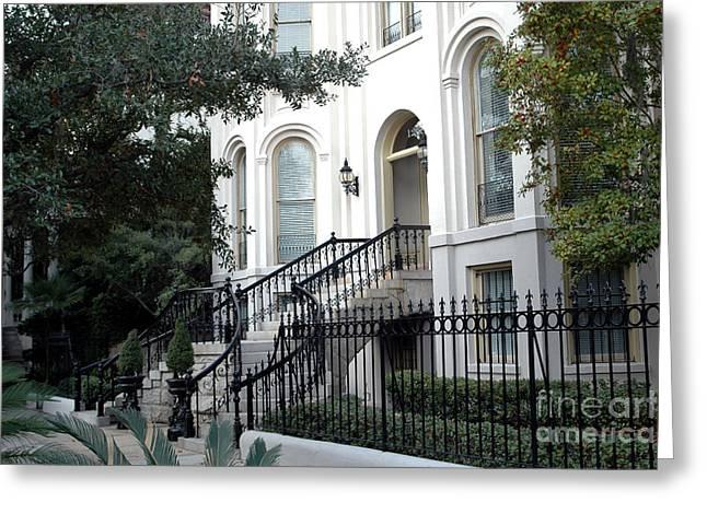 Savannah Georgia Historical District Victorian Homes Architecture - Savannah Mansions Greeting Card