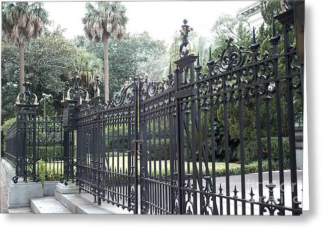 Savannah Georgia Mansion With Black Rod Iron Gates Greeting Card