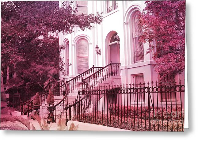Savannah Georgia Romantic Pink House Gates Greeting Card by Kathy Fornal