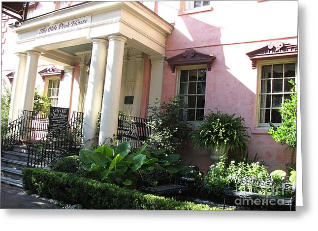 Savannah Georgia - The Olde Pink House Historical Restaurant Greeting Card by Kathy Fornal
