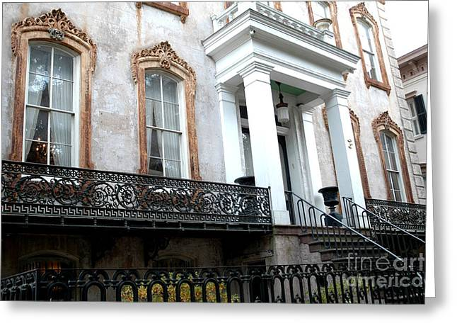 Savannah Georgia Victorian Homes Architecture - Savannah Historial District Greeting Card by Kathy Fornal