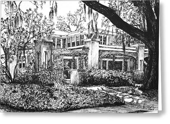 Greeting Card featuring the drawing Savannah Living by Rachel Hames