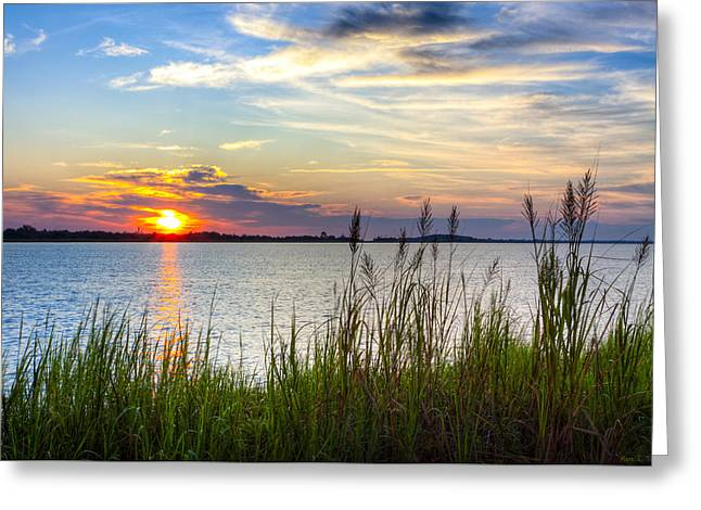 Greeting Card featuring the photograph Savannah River At Sunrise - Georgia Coast by Mark E Tisdale