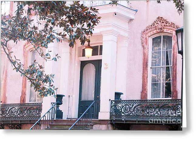 Savannah Romantic House Art Deco Windows Greeting Card by Kathy Fornal