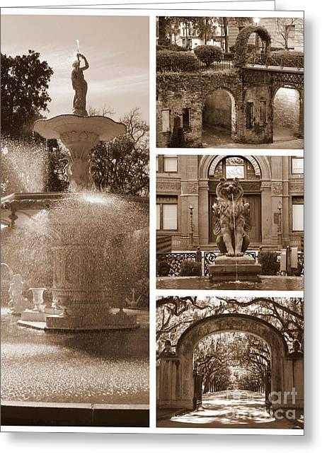 Savannah Scenes Collage In Sepia Greeting Card by Carol Groenen