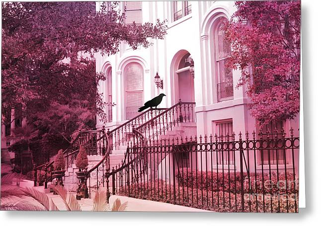 Savannah Surreal Pink House With Raven Greeting Card by Kathy Fornal
