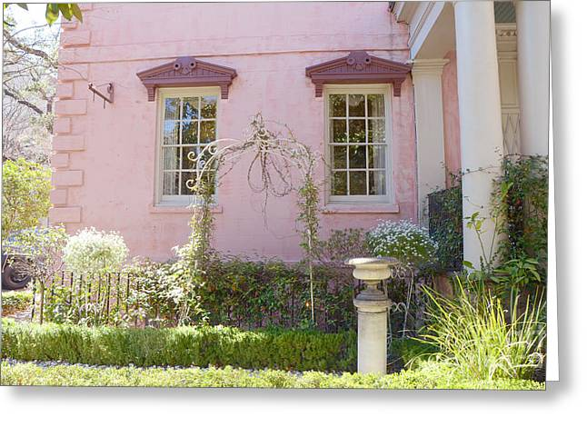 Savannah The Olde Pink House Restaurant Architecture - Savannah Romantic Pink House And Gardens  Greeting Card by Kathy Fornal