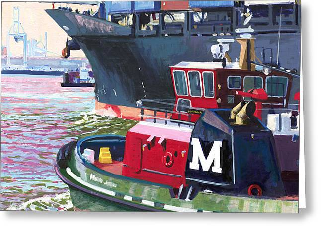 Savannah Tug Greeting Card by David Randall