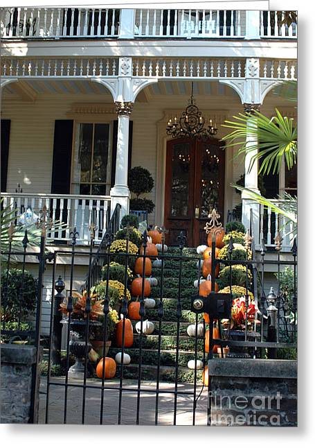 Savannah Victorian Home Fall Pumpkins Mums  Greeting Card by Kathy Fornal