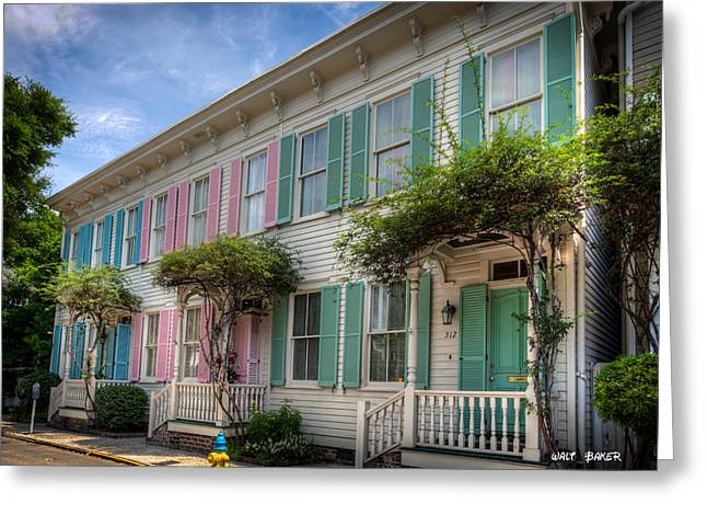 Savannah's Rainbow Row Greeting Card by Walt  Baker