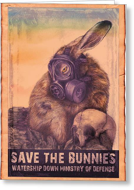 Greeting Card featuring the drawing Save The Bunnies by Penny Collins