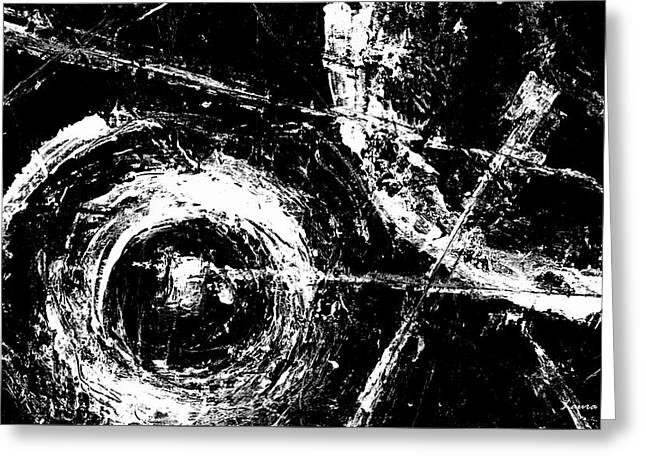 Save The Planet - Black And White -horizontal Formal -abstract By Laura Gomez Greeting Card by Laura  Gomez