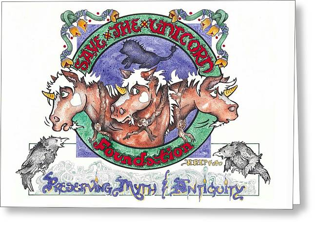 Greeting Card featuring the painting Real Fake News Save The Unicorn Foundation Foto by Dawn Sperry