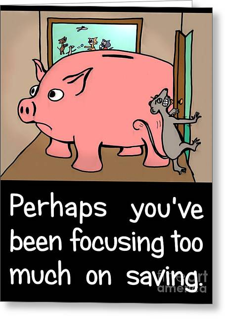 Greeting Card featuring the drawing Saving Pig by Pet Serrano
