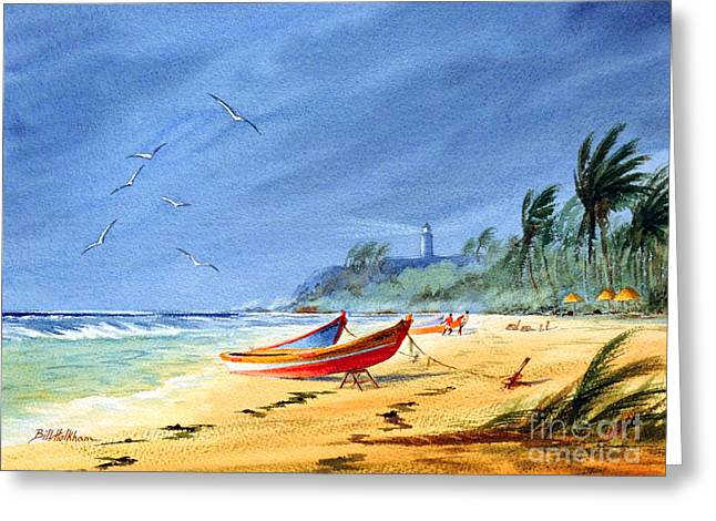 Saving The Fishing Boats - Maunabo Beach Puerto Rico Greeting Card by Bill Holkham
