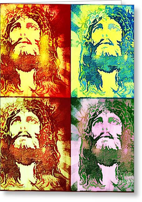 Greeting Card featuring the painting Savior Faces by Dave Luebbert