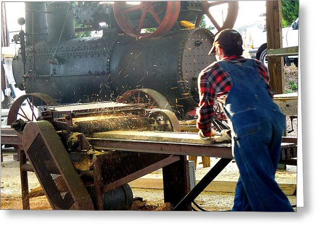 Sawmill Planer In Action Greeting Card by Pete Trenholm