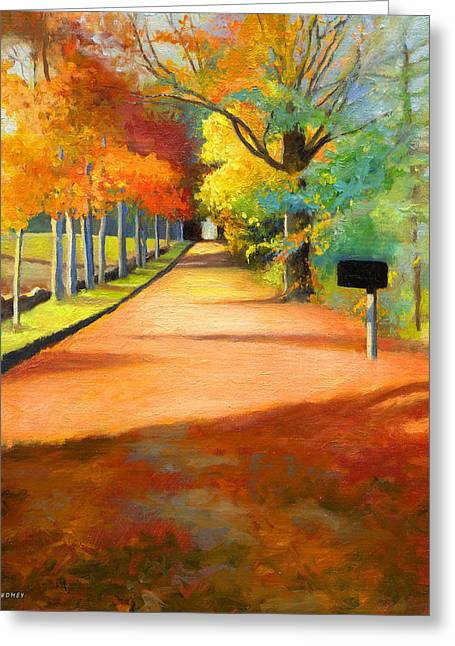 Sawmill Road Autumn Vermont Landscape Greeting Card by Catherine Twomey
