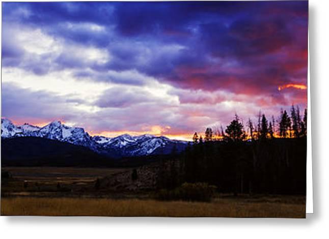 Sawtooth Sunset Panorama Greeting Card by Vishwanath Bhat