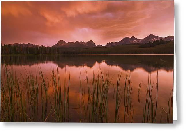 Sawtooth Sunset Stanley Idaho Greeting Card by Vishwanath Bhat