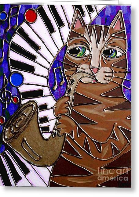 Sax Cat 2 Greeting Card