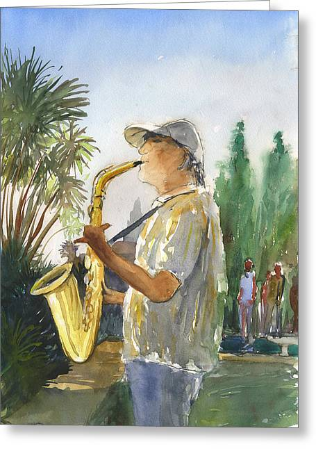 Sax In The Park Greeting Card