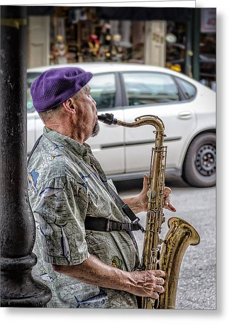 Sax In The Street Greeting Card