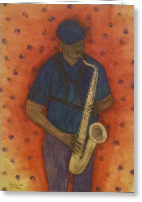 Sax Man Greeting Card by Larry Farris