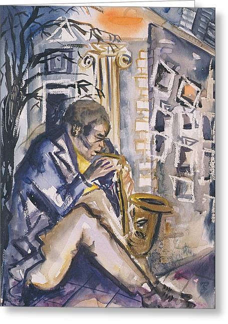 Sax Player, 1998 Wc On Paper Greeting Card