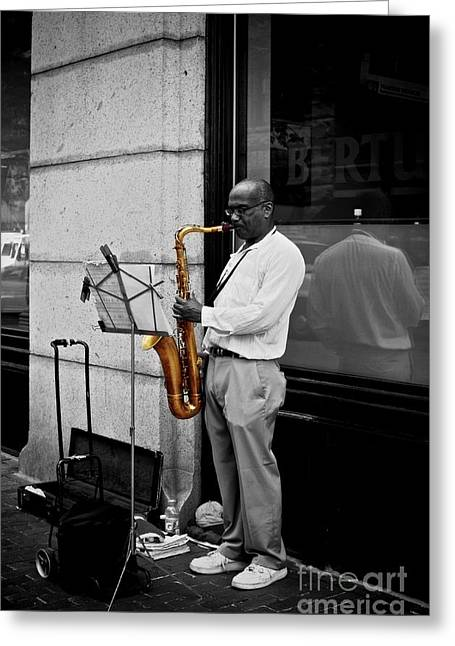 Greeting Card featuring the photograph Sax Player  by Sarah Mullin
