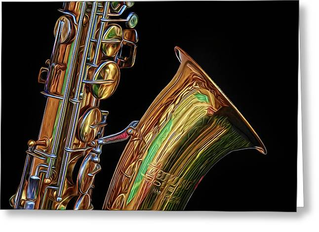Greeting Card featuring the photograph Saxophone by Dave Mills