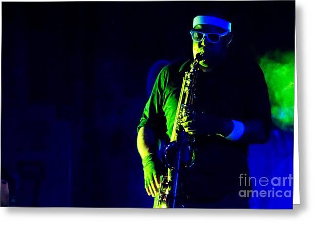 Saxophone Greeting Card by Jill Hyland