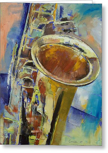 Saxophone Greeting Card by Michael Creese