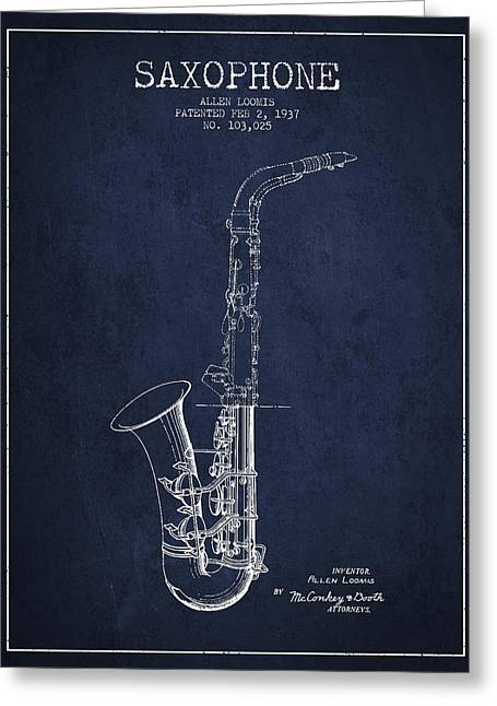 Saxophone Patent Drawing From 1937 - Blue Greeting Card by Aged Pixel