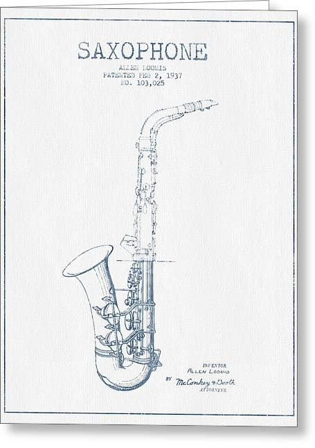 Saxophone Patent Drawing From 1937 - Blue Ink Greeting Card by Aged Pixel