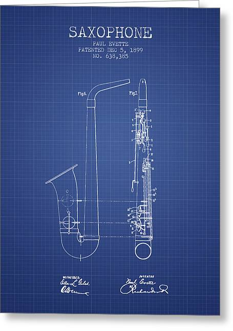 Saxophone Patent From 1899 - Blueprint Greeting Card by Aged Pixel
