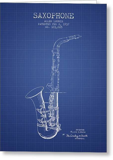 Saxophone Patent From 1937 - Blueprint Greeting Card by Aged Pixel