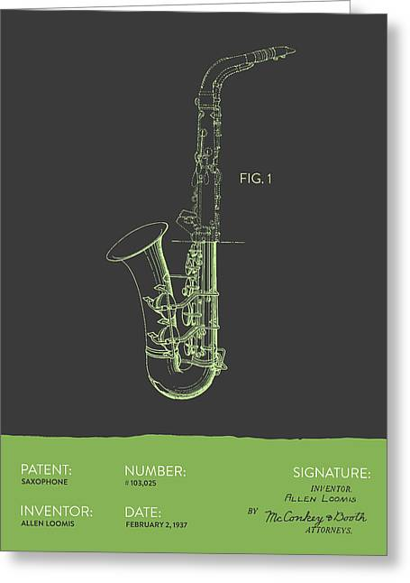 Saxophone Patent From 1937 - Gray Green Greeting Card by Aged Pixel