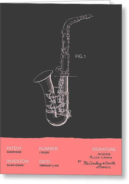 Saxophone Patent From 1937 - Gray Salmon Greeting Card by Aged Pixel