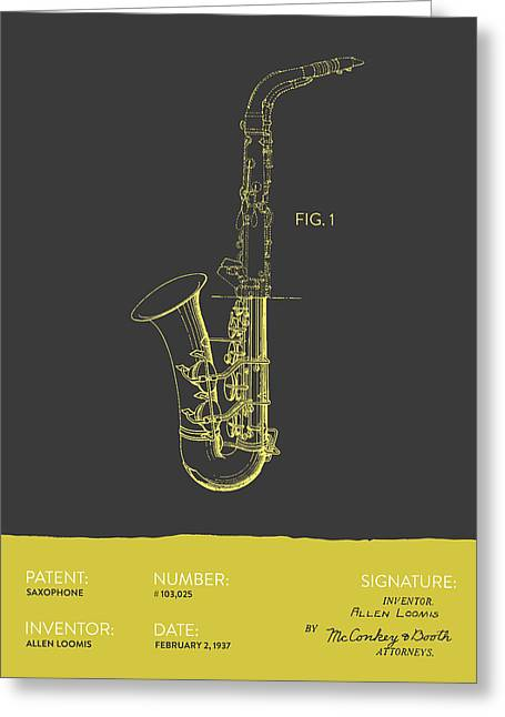 Saxophone Patent From 1937 - Gray Yellow Greeting Card by Aged Pixel