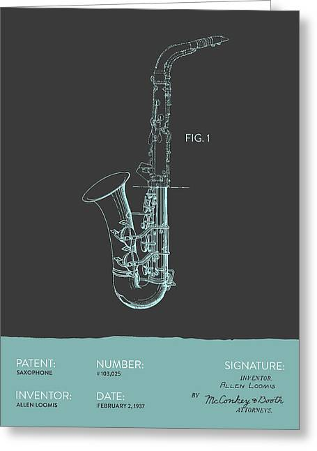 Saxophone Patent From 1937 - Modern Gray Blue Greeting Card by Aged Pixel