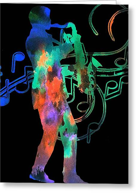 Saxophone Player Greeting Card by Dan Sproul